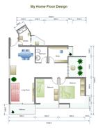 Plan d'étage à 2 chambres à coucher