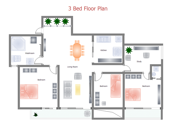 3 bed floor plan ...