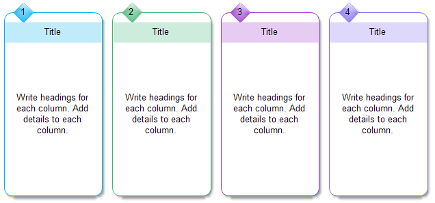 Four Column Chart - Numbering Style