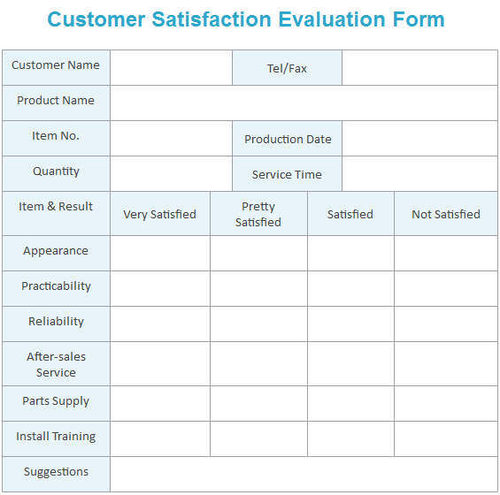 Customer Satisfaction Evaluation Form