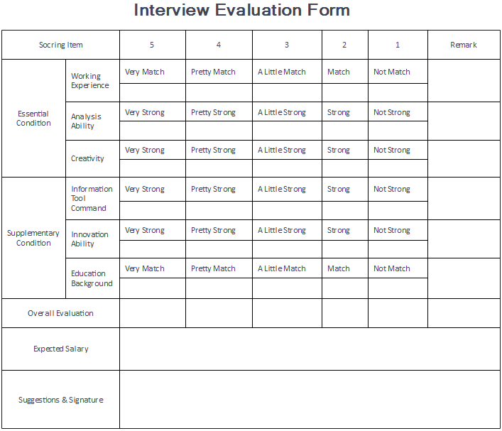 8 Downloadable Evaluation Form Examples – Interview Evaluation Forms