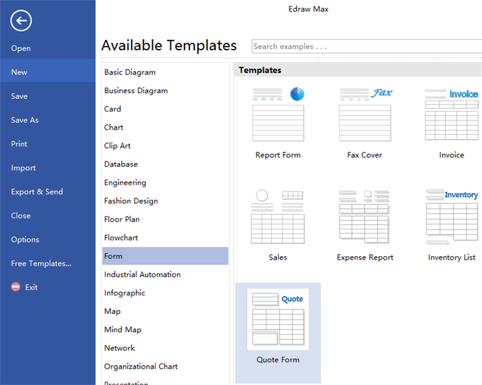 Open a Quotation Form Drawing Page