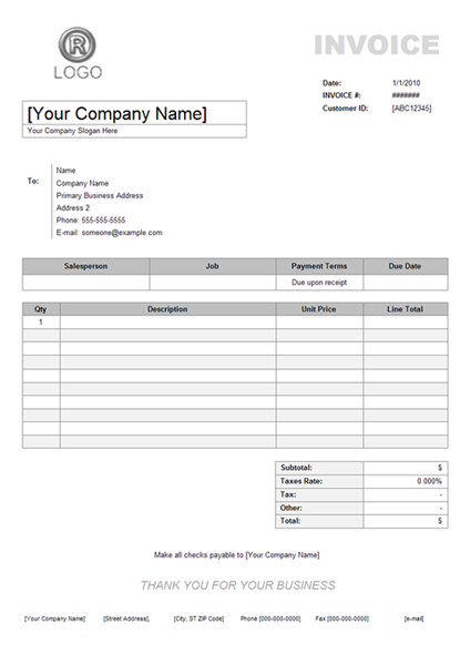 Invoice Example - Product invoice template