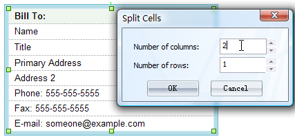 merge or split the cell