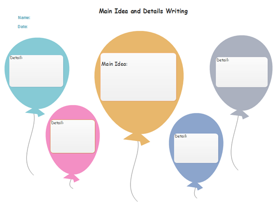 Balloon Main Idea and Details Graphic Organizer