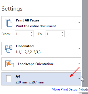 choose print paper size