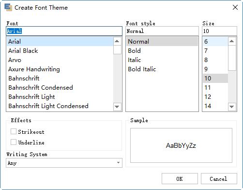 Create theme font