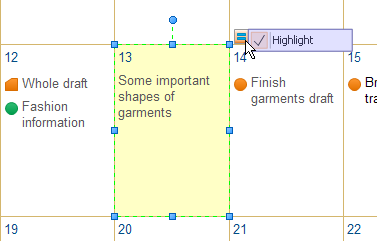 highlight calendar