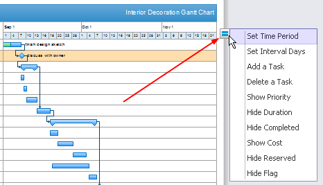 ... click the action button on the right edge to modify Gantt as you want