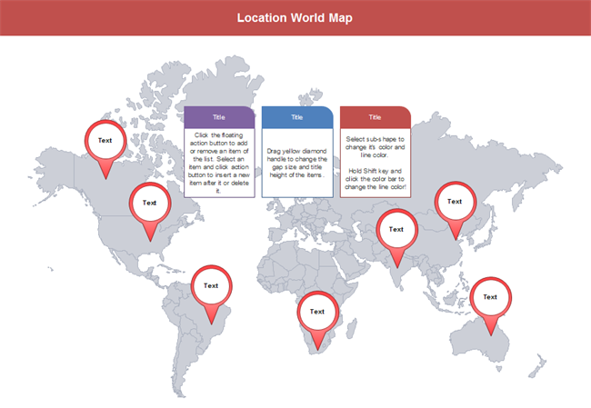 Customizable world map presentation templates with location markers world map location gumiabroncs Image collections