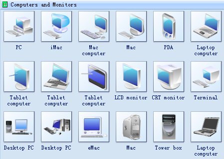 Network Symbols - Computers and Monitors