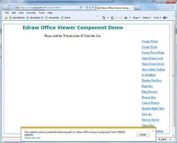 install the Edraw Office Viewer Compnent