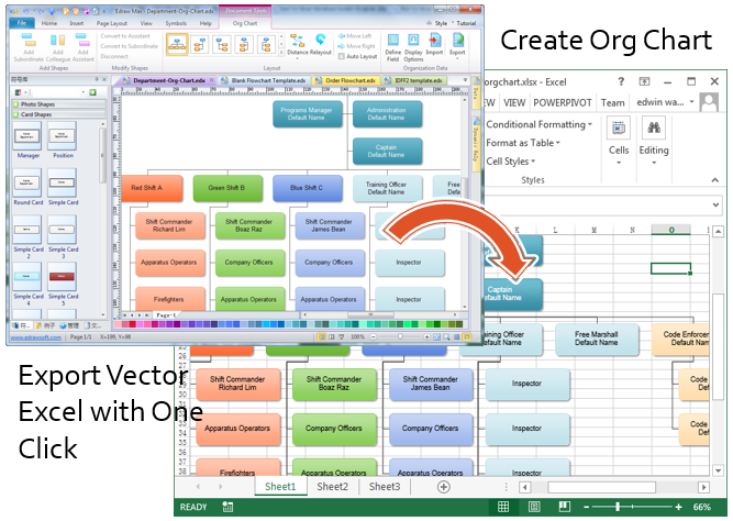 Create organizational charts in excel