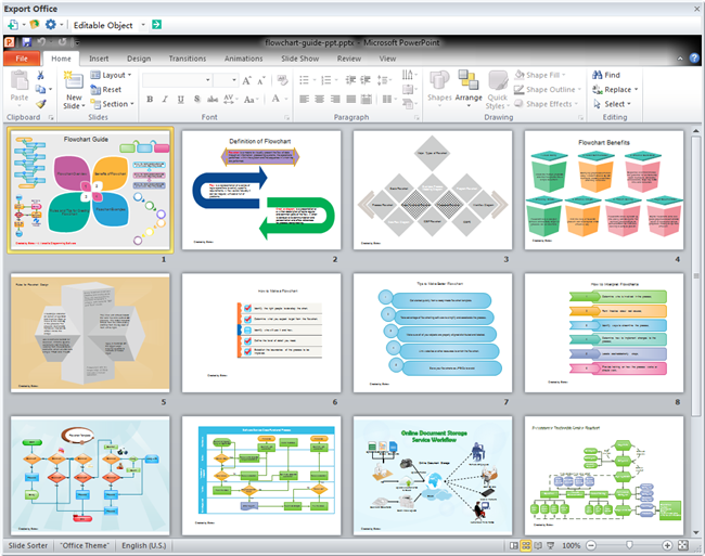 powerpoint template: flowchart guide, Modern powerpoint