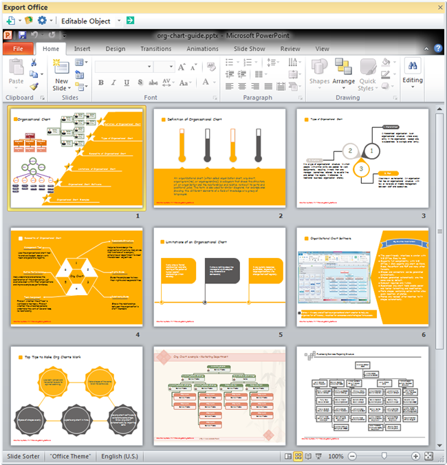 Organizational Chart Guide PPT - Microsoft office org chart template