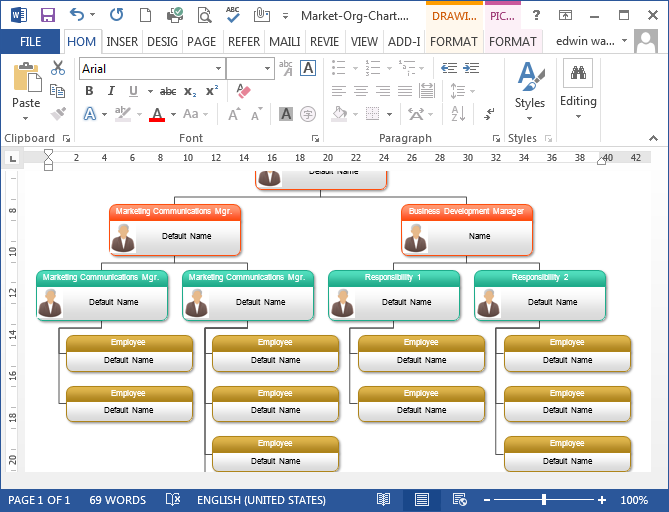 Organizational Chart in Word – Organizational Flow Chart Template Word