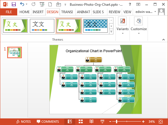 Sample Chart Templates org chart in ppt template : Organizational Chart in PowerPoint