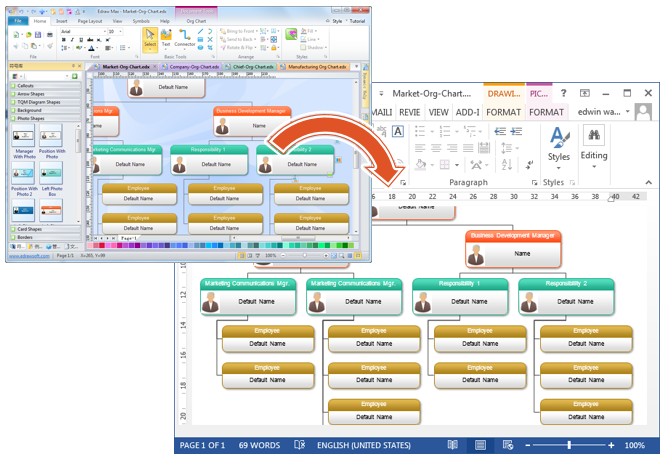 Sample Chart Templates organizational flow chart word template : exported organizational chart shapes are vector-level in the MS Word ...