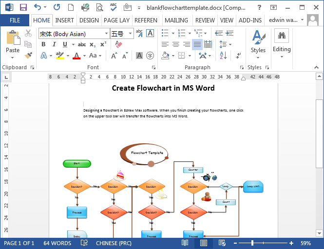 Wonderful Blank Flowchart Template In Word  Process Flow Chart Template Word