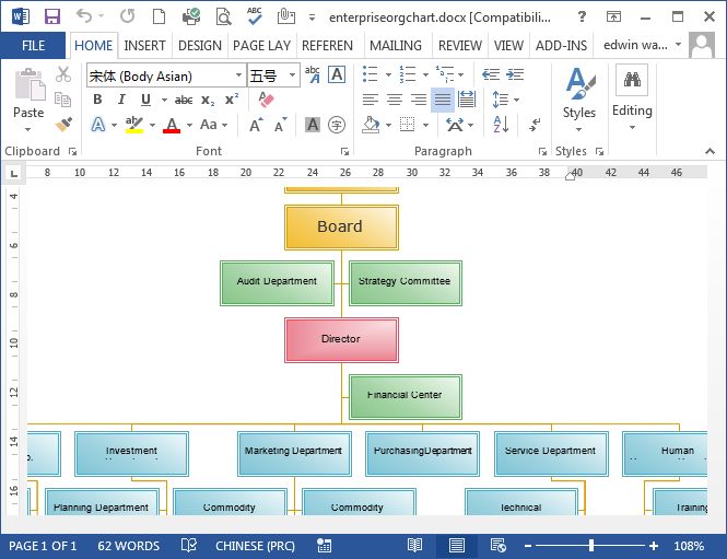 Organizational chart in word