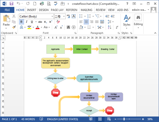 Beautiful Create Flowchart In MS Word  Flow Chart Word Template