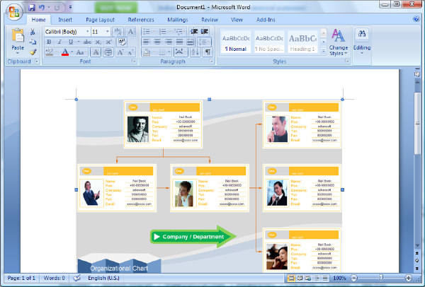 create organizational chart in Word