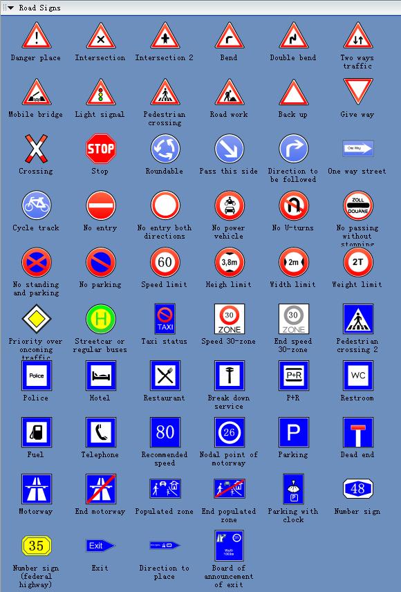 Road Signs And Symbols Road Sign Symbols · Edrawsoft