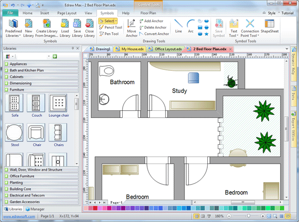 2d drafting software edraw for Simple architectural drawing software