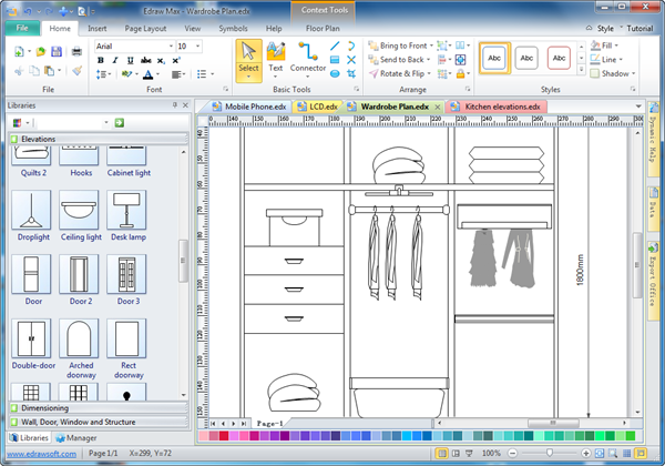 Cabinet design software edraw Easy drawing software