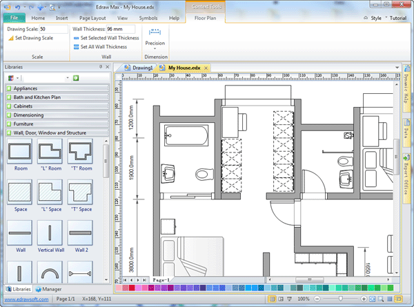 Easy drafting software edraw for Layout drawing software free