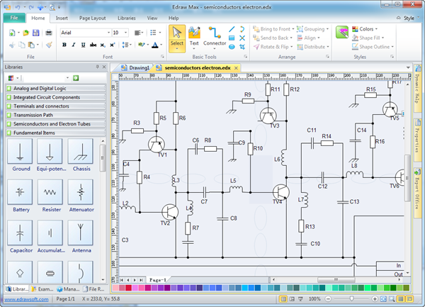 Free electronic circuit diagram/schematic drawing software- | electronic circuit drawing software