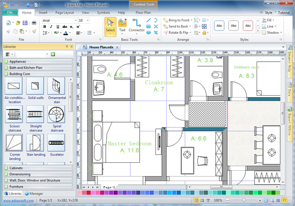 How to draw a house plan with free software free house for Create floor plans online for free
