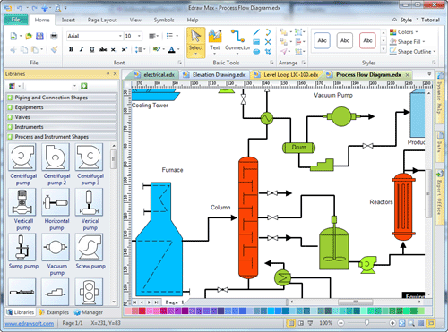 Process flow diagram draw process flow by starting with Diagram drawing software free download