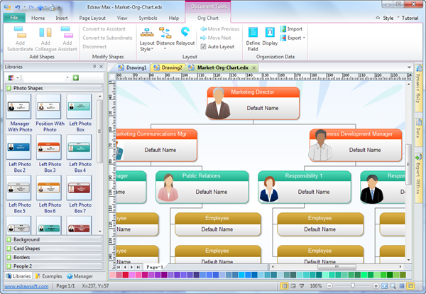 staff organization chart examples software free download