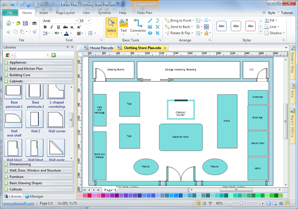 Interior Design Furniture Placement Software ~ Store layout software edraw