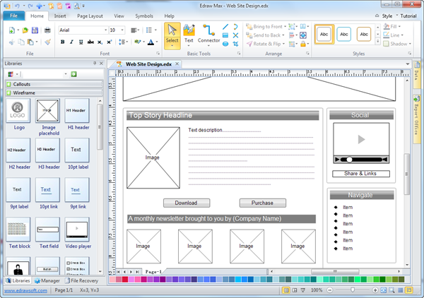 easy wireframe software edraw rh edrawsoft com Diagram of a Website Wireframe Visio 2010 Wireframe Stencil