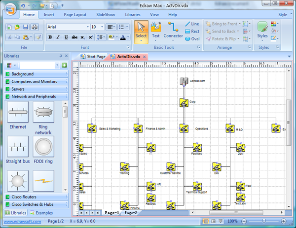 Visio network diagram replacement software better solution for visio active directory diagram publicscrutiny Gallery
