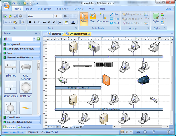 Visio replacement better diagramming solution and better for Visio detailed network diagram template