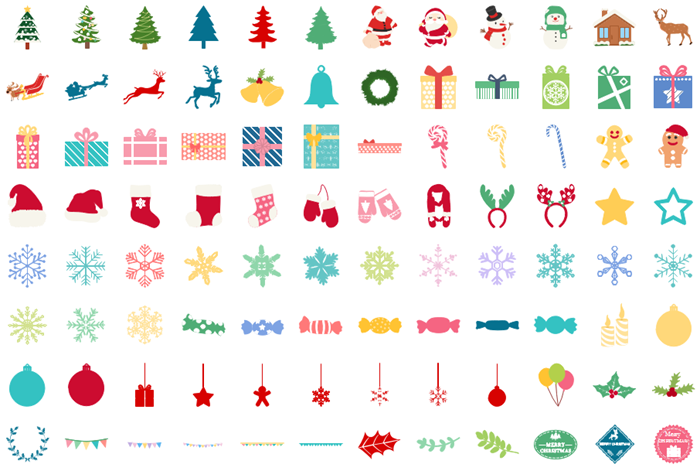 infographic christmas icons