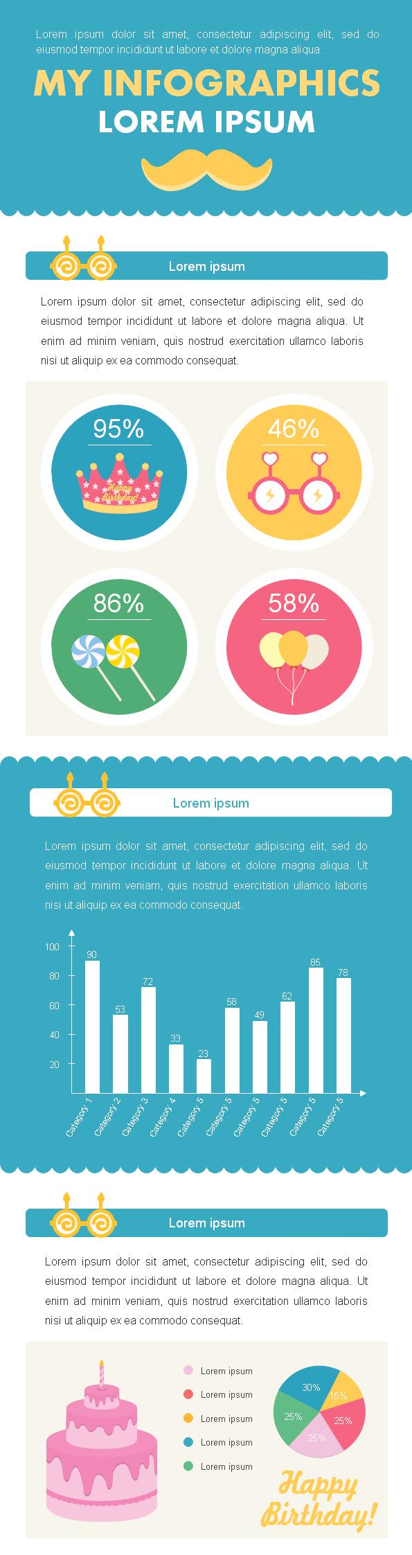 Modèle d'infographie d'anniversaire