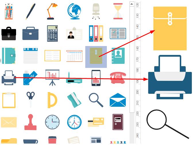 Drag and Drop Office Symbols