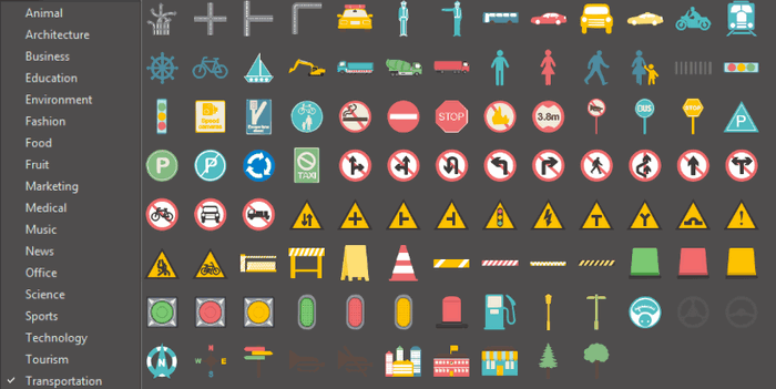 editable symbols in infographics software