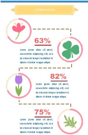 créer une infographie - Combiner des chiffres et des éléments de fleurs et de feuilles