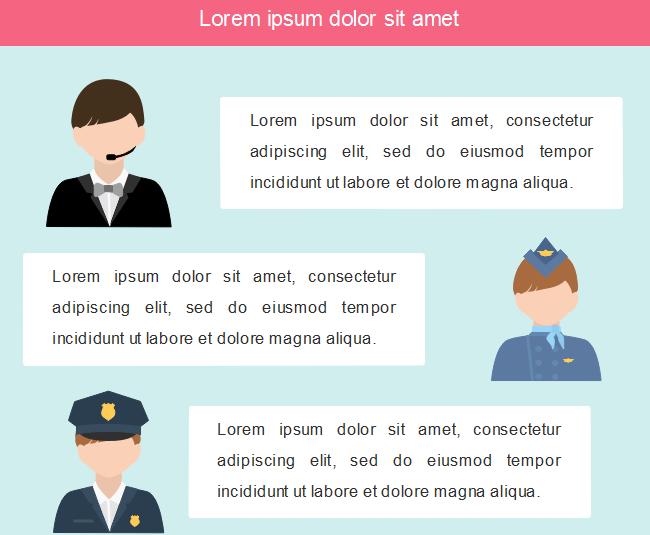 Exemples d'application des gens de différentes professions dans l'infographie 1