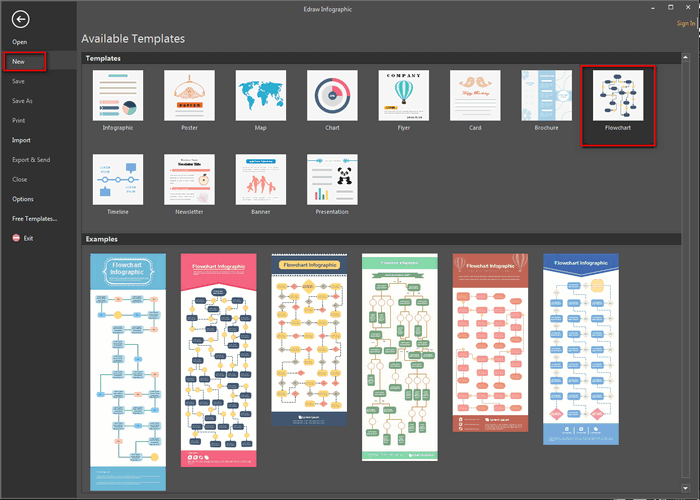 open an Infographic Flowchart template