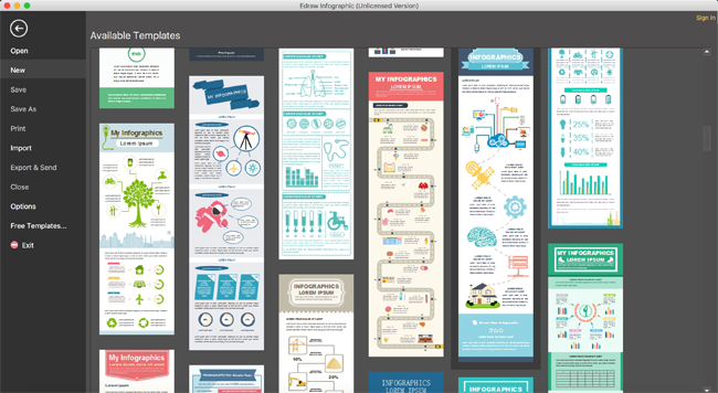 Edraw Infographic mac interface