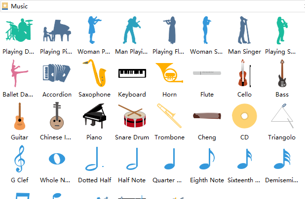 create music infographics with premade elements