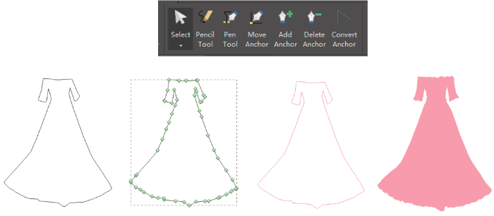 Pen Tool for Clothes Infographic Design