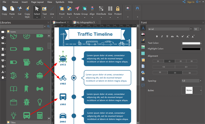add infographics timeline embellishment