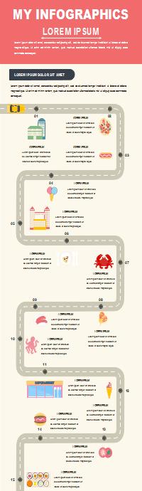 Plantilla de infografía de camino sinuoso